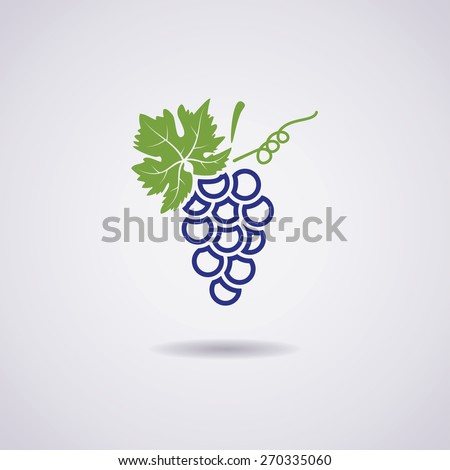 vector icon of blue grapes - stock vector