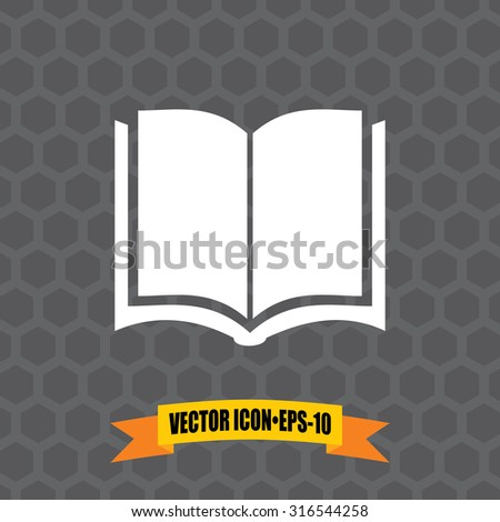 Vector Icon of Book on Dark Gray Background. Eps.10.