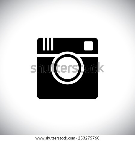 vector icon of camera silhouette for sharing photos on internet, mobile phones, social media sites - social media graphic - stock vector