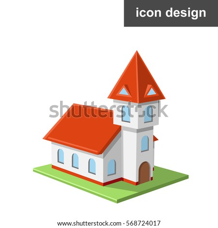Vector icon of catholic castle church