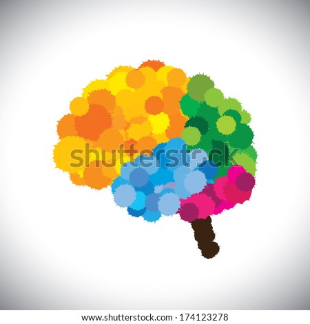 vector icon of creative, brilliant & colorful painted brain. This graphic of people's mind also represents problem solving, ingenuity, original thinking, gifted, inventive, genius  - stock vector