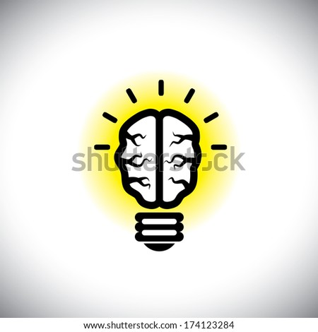vector icon of creative, inventive brain as idea light bulb. This people's mind graphic also represents solving problems, finding creative solutions, ingenious ideas, clever concepts, brilliant plans - stock vector