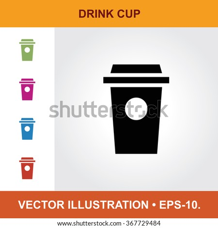 Vector Icon Of Drink Cup With Title & Small Multicolored Icons. Eps-10.