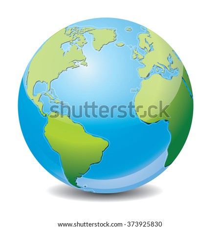Vector icon of Earth with highlight, isolated on background.