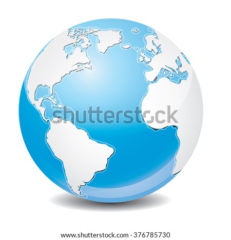 Vector icon of Earth with highlight, isolated on background. - stock vector