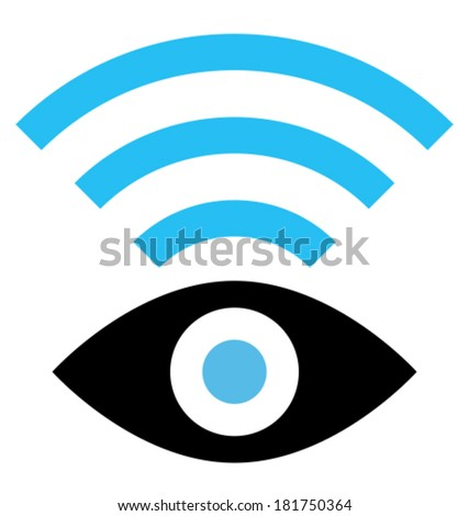 Vector icon of eye with wireless signal isolated on white background - stock vector