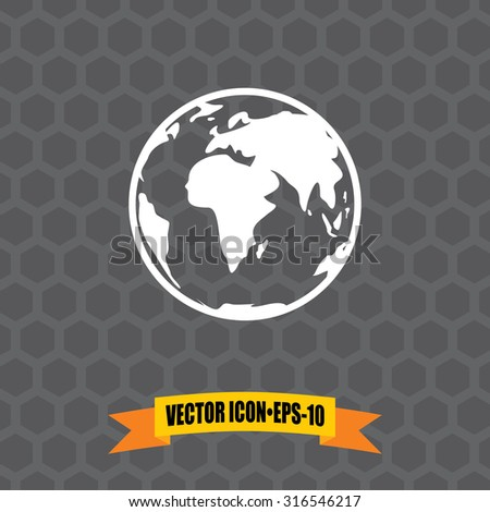 Vector Icon of Globe on Dark Gray Background. Eps.10.