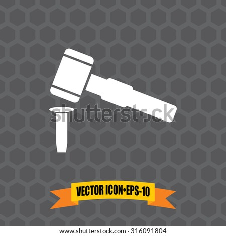 Vector Icon of Hammer & Chisel on Dark Gray Background. Eps.10.