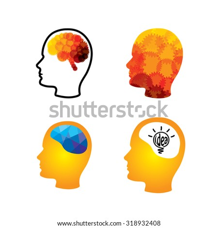 vector icon of head with creative ingenious brains. This graphic can also represent creativity, thinking, thought, imagination, idea, solution, problem solving, success, performance - stock vector