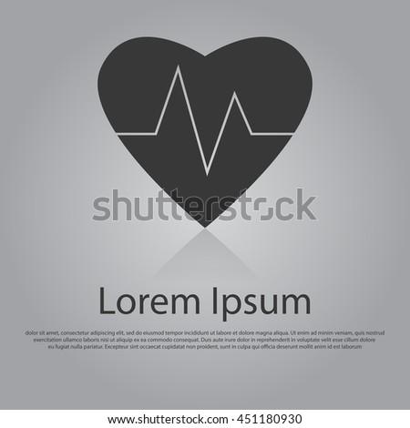 Vector icon of heart cardiology concept. Flat design style. EPS 10 - stock vector