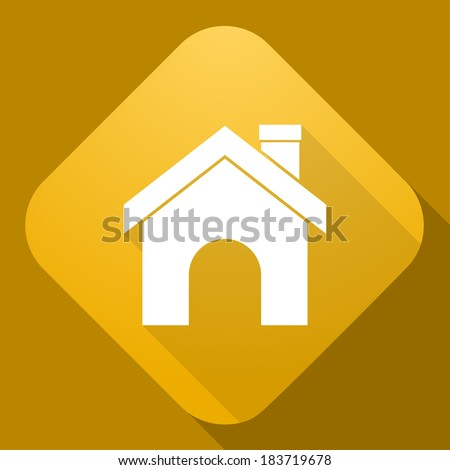 Vector icon of House with a long shadow - stock vector