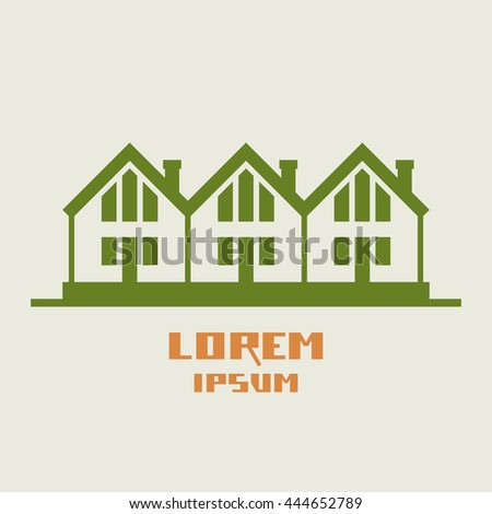 Vector Icon Of Houses Logo Design Template Green Sign Real Estate View