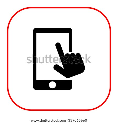 Vector icon of human hand touching smartphone screen - stock vector