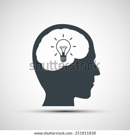 Vector icon of human head with a light bulb - stock vector