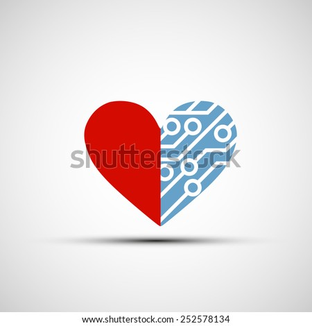 Vector icon of human heart and circuits - stock vector