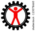 Vector icon of man in cog-wheel - stock photo