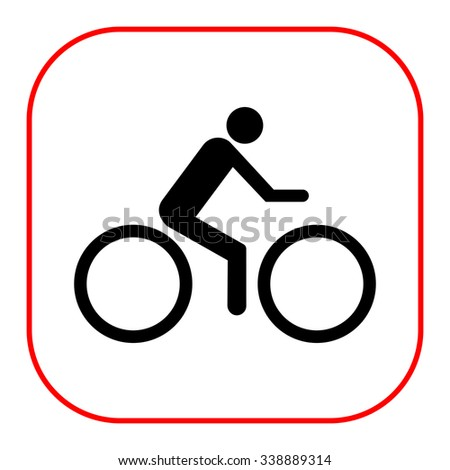 Vector icon of man silhouette riding bicycle - stock vector
