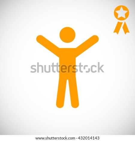 Vector icon of man with raised hands