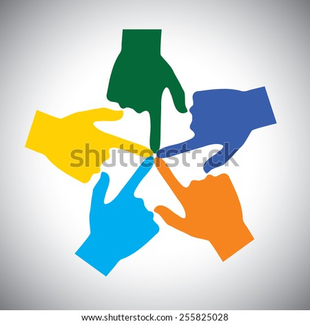 vector icon of many hands touching each other - concept of unity. This also represents concepts like community, social network, support, solidarity, partnership, friendship, cooperation, connection - stock vector