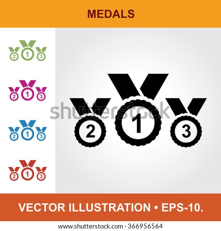 Vector Icon Of Medal With Title & Small Multicolored Icons. Eps-10. - stock vector