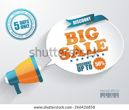 Vector icon of megaphone with bubble speech for Big Sale message, marketing concept  - stock vector