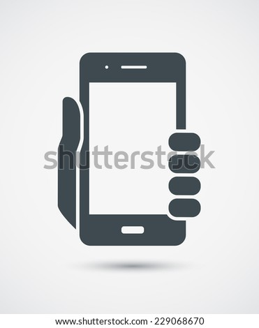 Vector icon of mobile phone in hand - stock vector