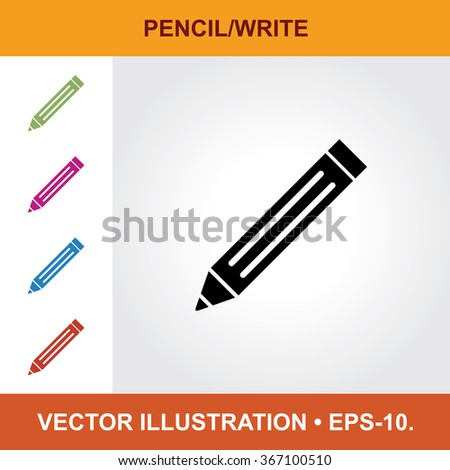 Vector Icon Of Pencil With Title & Small Multicolored Icons. Eps-10. - stock vector