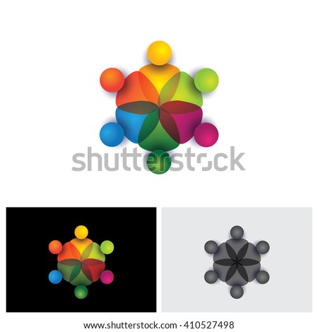 vector icon of people together - sign of unity, partnership vector logo icon. This also represents diversity, community, engagement, interaction, teamwork, team, children, kids, employees - stock vector
