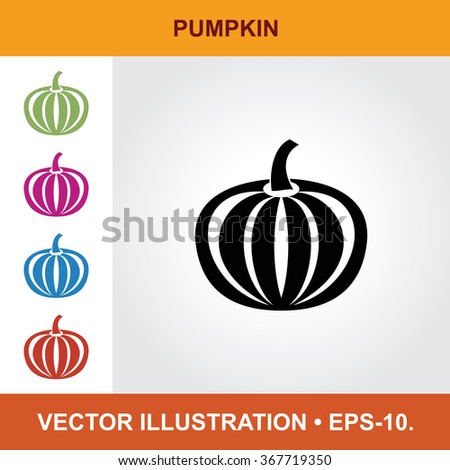 Vector Icon Of Pumpkin With Title & Small Multicolored Icons. Eps-10. - stock vector