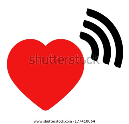 Vector icon of red heart with wave signal isolated on white background - stock vector
