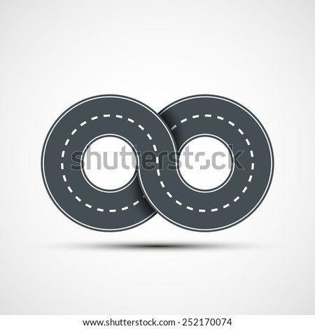 Vector icon of road in the form of an infinity sign - stock vector
