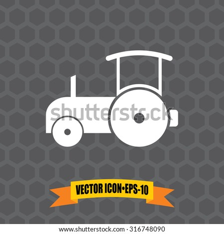Vector Icon of Road Roller on Dark Gray Background. Eps.10. - stock vector
