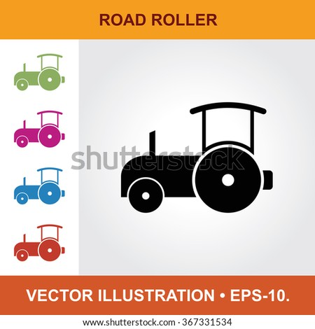 Vector Icon Of Road Roller With Title & Small Multicolored Icons. Eps-10. - stock vector