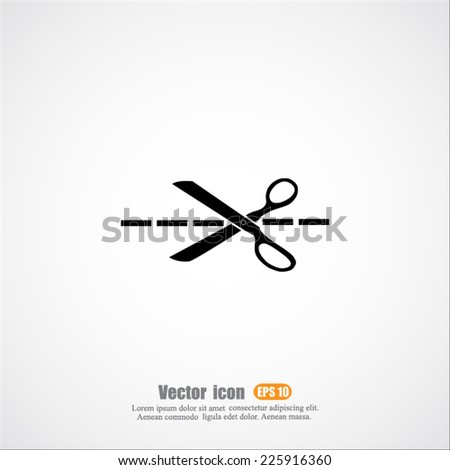 vector icon of scissors - stock vector