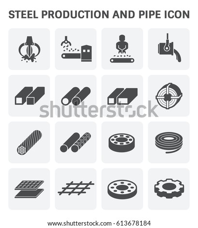 Vector icon of steel pipe and metal product  for construction industry work.
