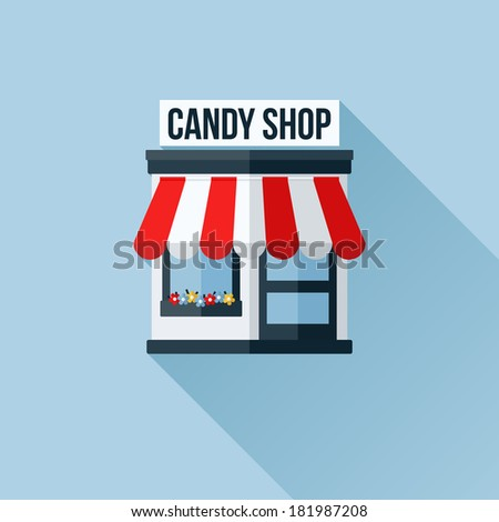 Vector icon of stylish shop or store or boutique with awning - stock vector