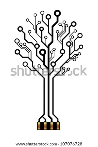 Vector icon of technology tree - stock vector