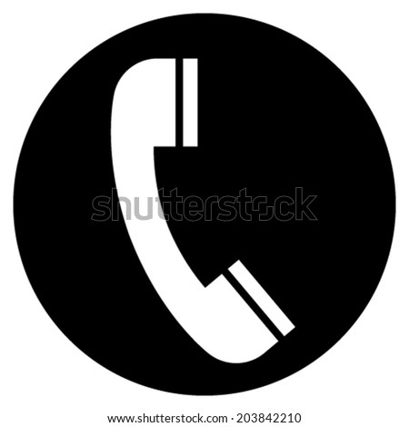 Vector icon of telephone handset over black circle - stock vector
