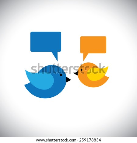 vector icon of two little birds communicating with each other