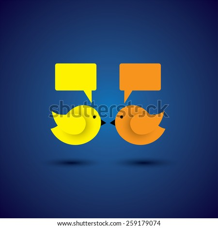 vector icon of two little birds communicating with each other. this represents discussions, dialogues, group meetings, teamwork, online communication, engagements - stock vector