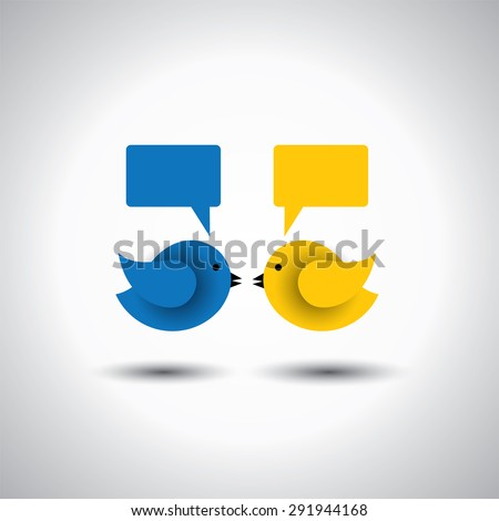 vector icon of two little birds communicating with each other. this represents discussions, dialogs, group meetings, teamwork, online communication, engagements - stock vector