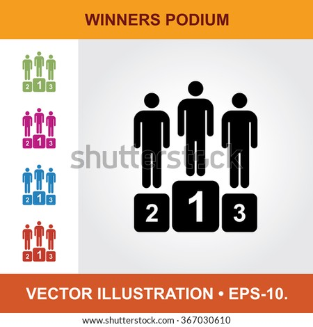 Vector Icon Of Winners Podium With Title & Small Multicolored Icons. Eps-10. - stock vector