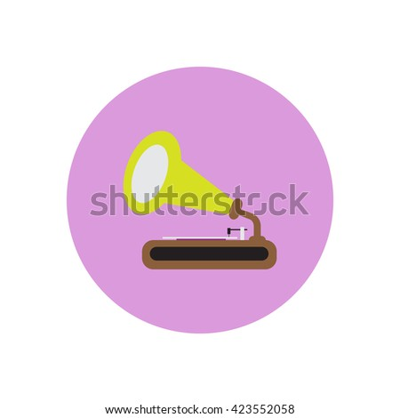 Vector icon on the white backgrounds in circles retro gramophone - stock vector