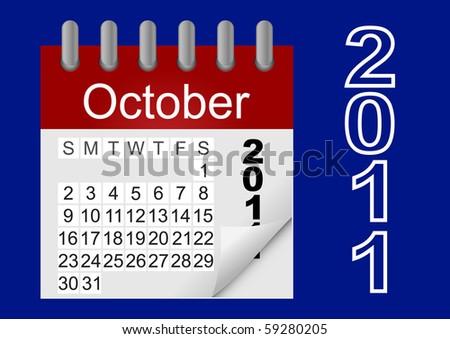 Vector icon paper calendar  2011, october. - stock vector