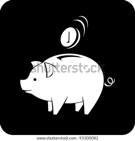 Vector icon - Piggy bank - stock vector