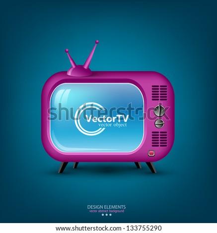 Vector icon pink retro TV - stock vector