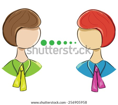 Vector icon-portrait of two women communicating on a white background - stock vector