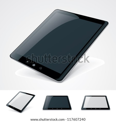 Vector icon representing tablet with empty white or black screen. Included tablet in horizontal and vertical orientations and perspectives  - stock vector