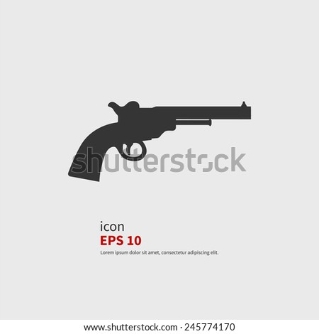 Vector icon revolvers. Black silhouette isolated - stock vector