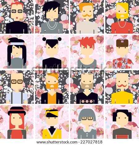 Vector icon set avatar people on flower background - stock vector